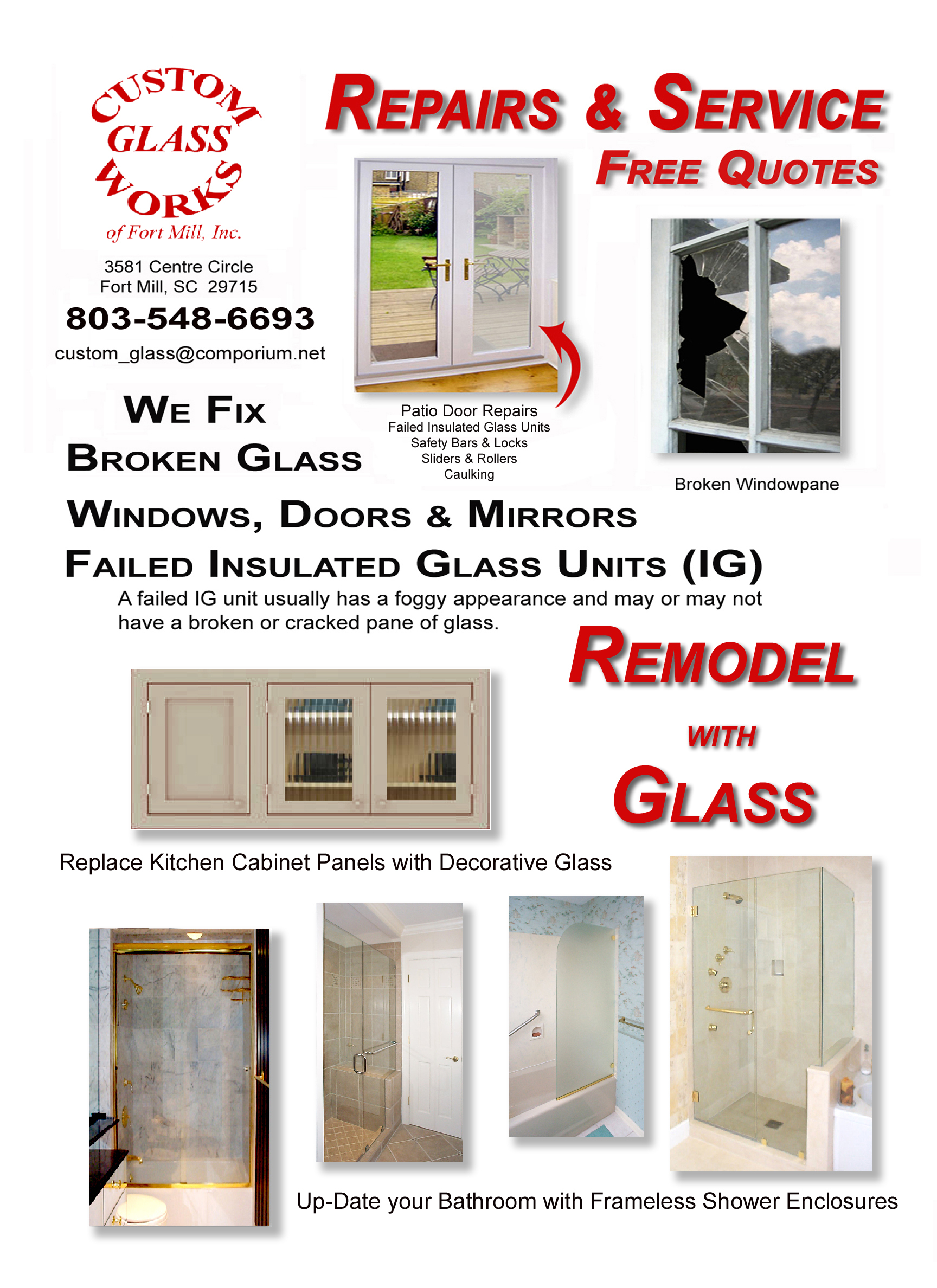 Custom Glass Works Of Fort Mill Sc Serving North And