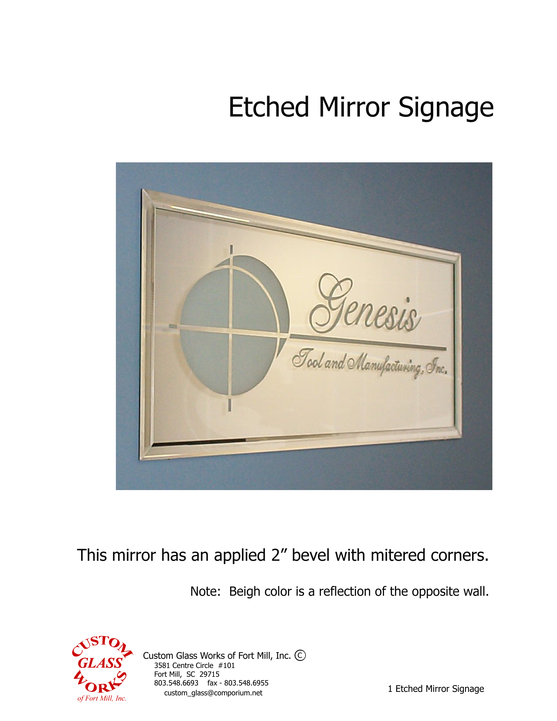 1 Etched Mirror Signage