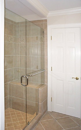 Frameless Door and Inline Panel with Thru-the-Glass Towel Bar