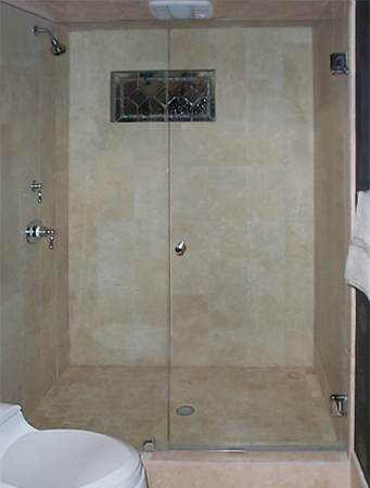 Frameless Door with Knob Pull and Inline Panel