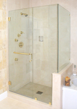 Frameless Door with Towel Bar Pull Combo