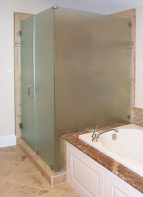 Frameless Satin Glass Door, Inline Panel 90 Return on Step-Up
