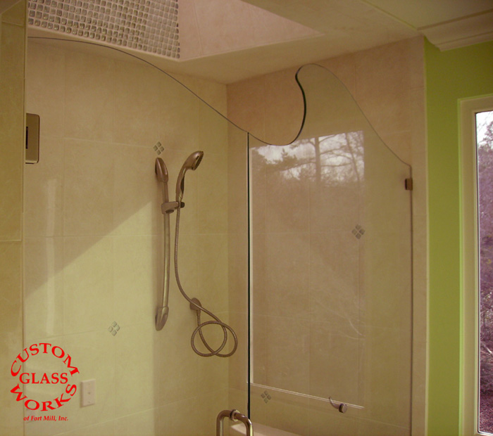 Frameless Wave Glass Shower 1