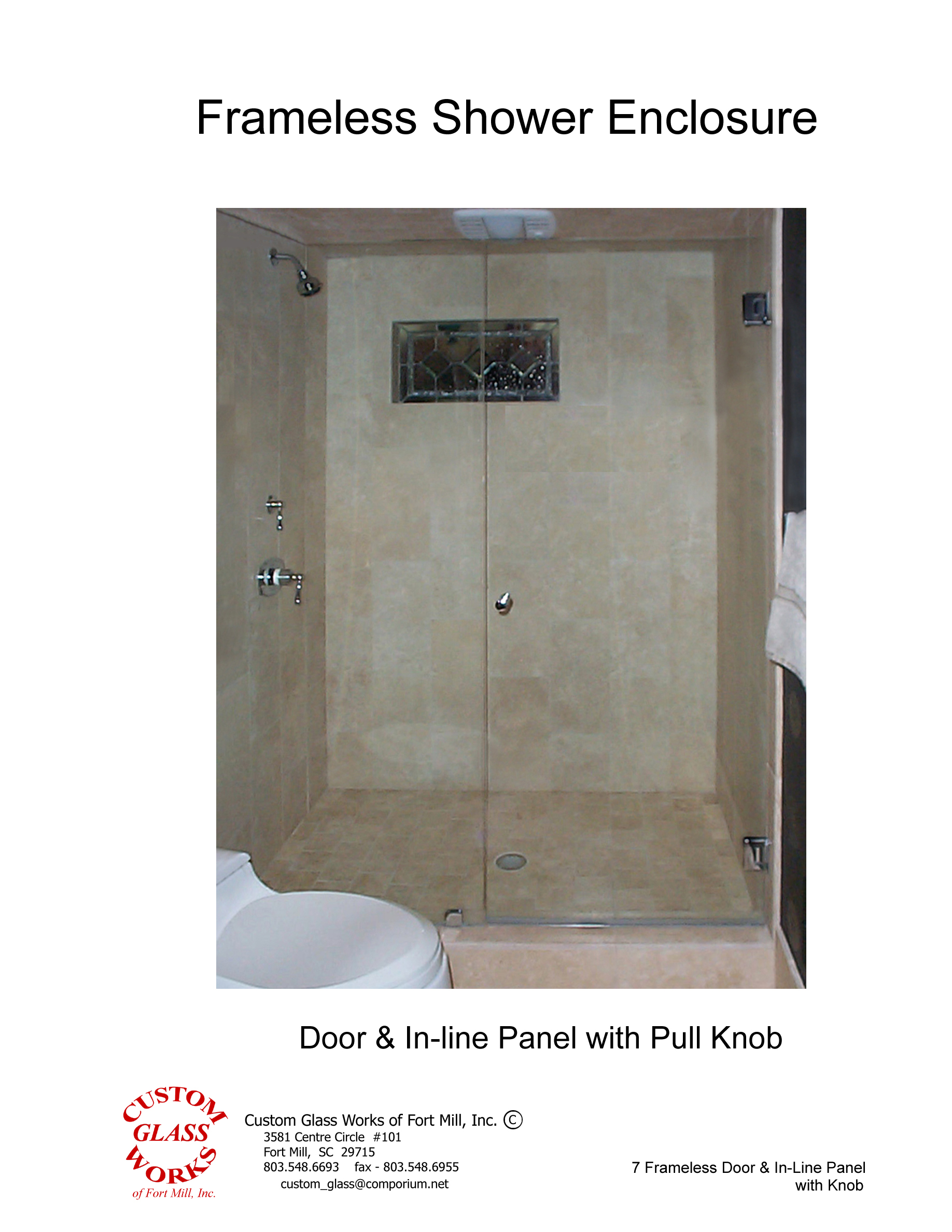 7 Frameless Door & In-Line Panel with Knob
