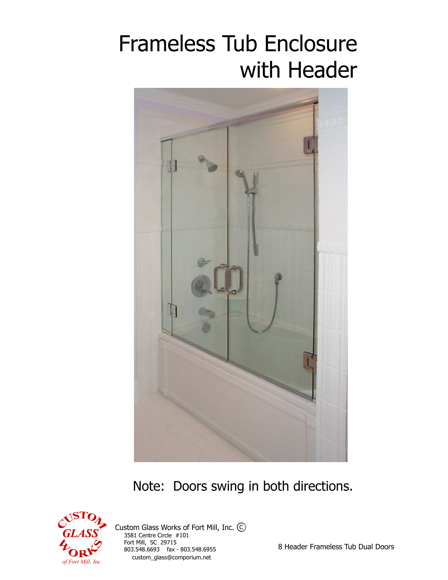 8 Header Frameless Tub Dual Doors