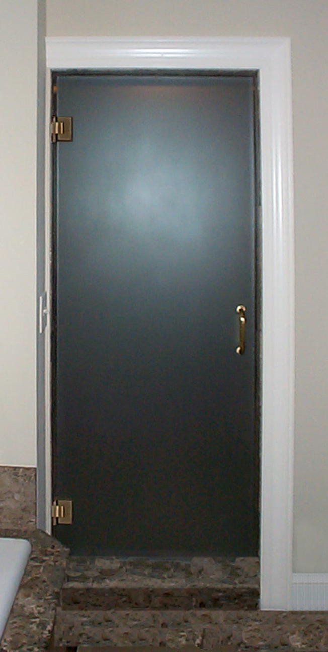 Frameless single door frosted prelim